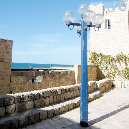 Streetlight near St. Peters Church in old city Jaffa, Israel. Stock Photo