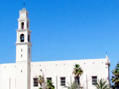 yafo: The view of Church of St Peter in old city Jaffa, Israel Stock Photo