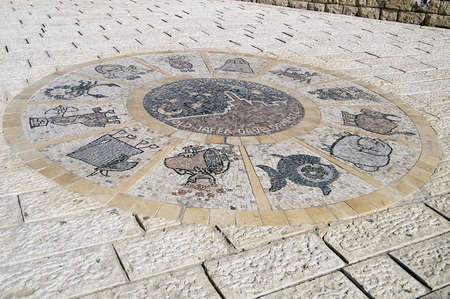 zodiacal signs: Twelve Zodiacal signs in old Jaffa, Israel