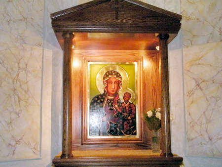 Icon of Madonna and Child in Saint Peters Church in old city Jaffa, Israel 新聞圖片