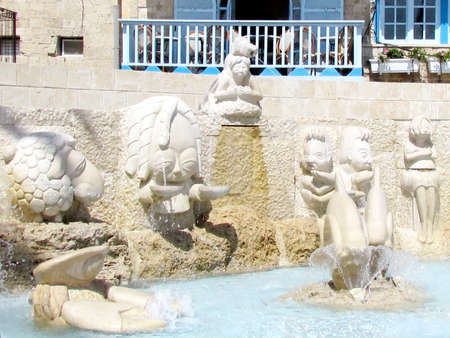 The ountain with sculptures of zodiac signs in old Jaffa, Israel Foto de archivo