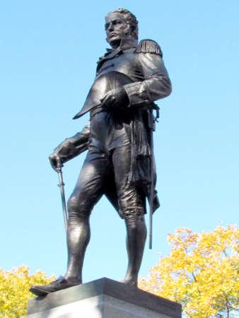 john: Monument of Lieutenant-Colonel John Graves Simcoe at Queens Park of Toronto, Canada Stock Photo