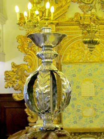 Candlestick in old synagogue in Jerusalem, Israel