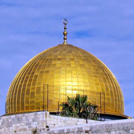 Dome of Rock Mosque during sunset in the old city of Jerusalem, Israel