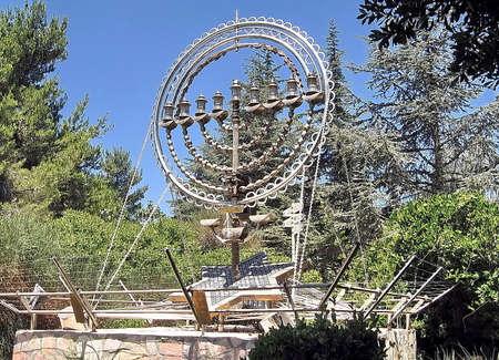zionist: Hanukija of memorial in Mount Herzl in Jerusalem, Israel Editorial