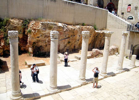 jewish quarter: Roman`s columns in Jewish quarter of Old Jerusalem,Israel Editorial