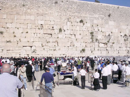 wailing: Offer prayers at the Wailing Wall in Jerusalem, Israel