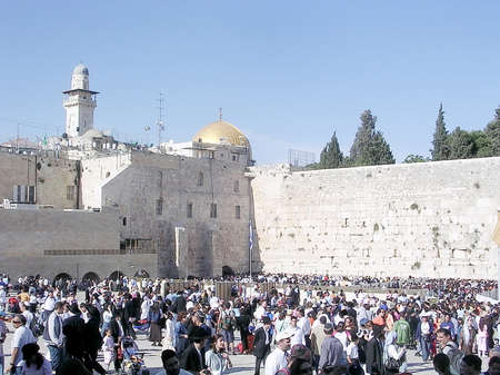 wailing: Tourists and offer prayers at the Wailing Wall in Jerusalem, Israel Editorial