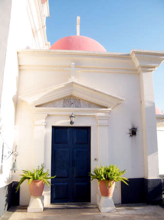 kefar: Entrance of Greek Orthodox Church of the Seven Apostles in Kapernaum, Israel