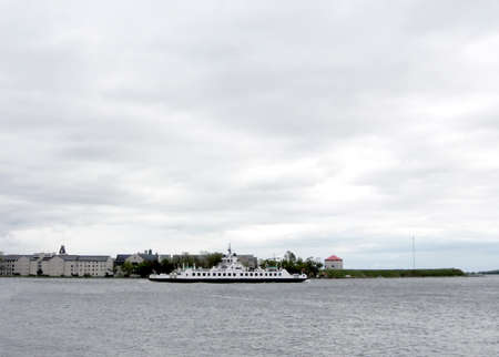 Ship on the Lake Ontario opposite of the mooring Kingston, Canada Banco de Imagens