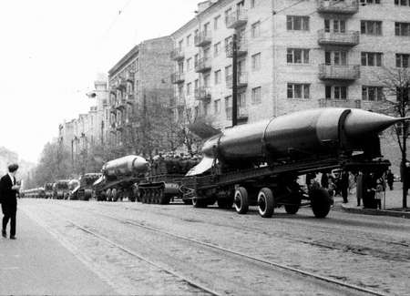 Old black and white photo: Rockets on May Day military parade in Kiev, Ukraine