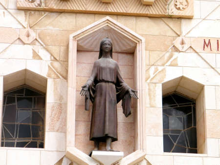 annunciation of mary: Sculpture of the young Mary in Basilica of the Annunciation in Nazareth, Israel