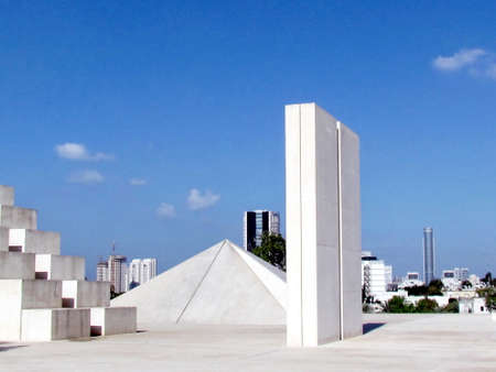 edith: Pyramid in the center of the white square in Edith Wolfson Park in Ramat Gan, Israel