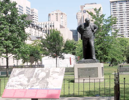 churchill: Sir Winston Churchill Memorial in Toronto, Canada with his statue in the background Editorial