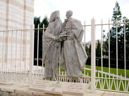 pope: Sculpture The ecumenical meeting between Pope Paul VI and Atenagoras Jerusalem 5 January 1964 in Basilica in Nazareth, Israel