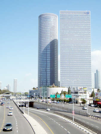 The modern skyscrapers on Derech Menachem Begin in Tel Aviv, Israel