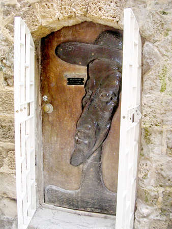 jafo: The sculptural portrait on the door in old city Jaffa, Israel