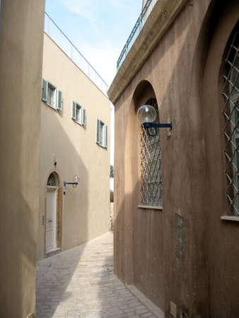 jafo: New houses on Netiv HaMazalot street in old Jaffa, Israel Stock Photo
