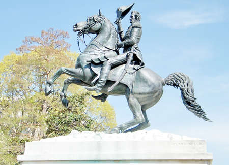 juxtaposition: Statue of Andrew Jackson in the center of Lafayette Park in Washington DC