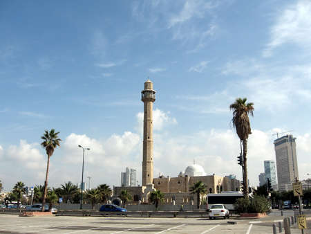 tel: View to minaret of Hasan-bey Mosque in Tel Aviv, Israel