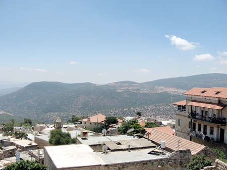 The panorama of Old City Safed in Israel