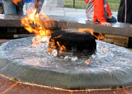 centennial: The Centennial Flame near Canadian Parliament Buildings in Ottawa, Canada Stock Photo