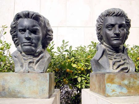 mozart: Busts of great composers Strauss and Mozart  in Tel Aviv, Israel