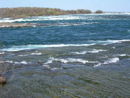 niagara river: Niagara River to the waterfalls in spring, 4 May 2003 Canada