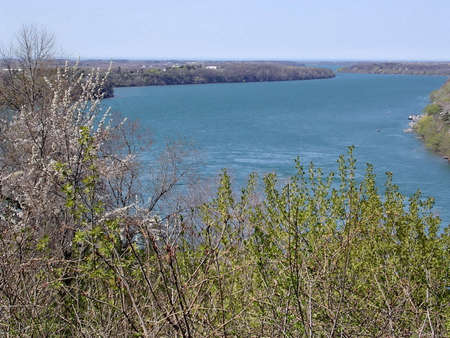 niagara river: Niagara River after the waterfalls in spring, 4 May 2003 Canada Stock Photo