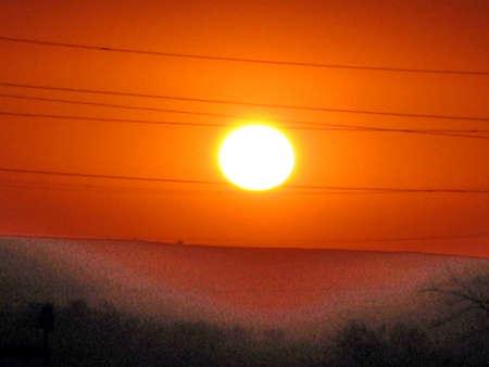 The red sunset in Tashkent region on the border between Uzbekistan and Kazakhstan Reklamní fotografie