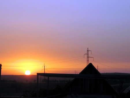 Sunset in the steppe in Tashkent region on the border between Uzbekistan and Kazakhstan