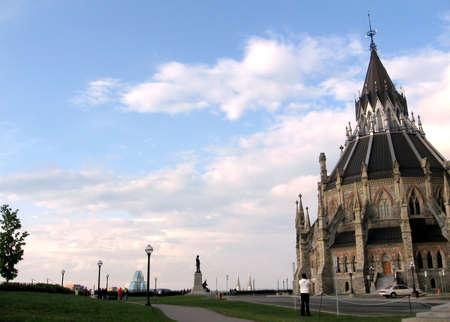 カナダ、オタワの議会の丘夕方のビュー