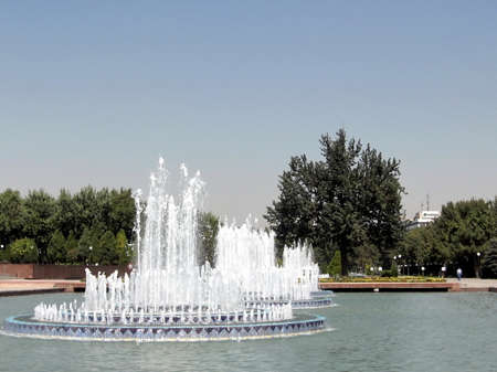 places of interest: The fountains on Independence Square in the city of Tashkent, the capital of Uzbekistan Stock Photo