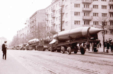 Rockets on May Day military parade in Kiev, Ukraine, May 1, 1964