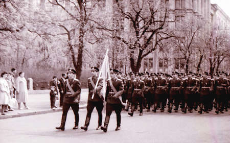 The May Day military parade in Kiev, Ukraine, May 1, 1964