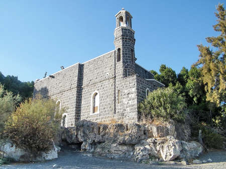 primacy: Church of the Primacy of Peter in Tabgha on the Sea of Galilee, Israel Stock Photo