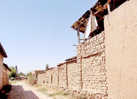 Adobe house construction unused for years in Uzbekistan