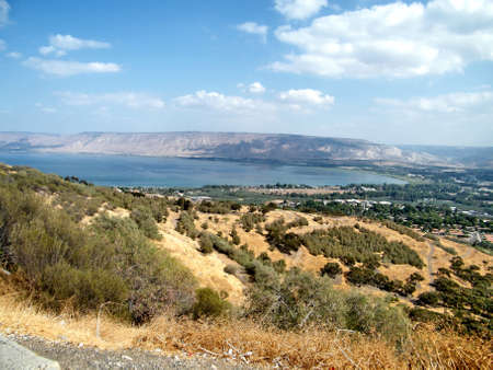The Lake Kinneret against the background of the Golan Heights in Galilee, Israel, October 23, 2010