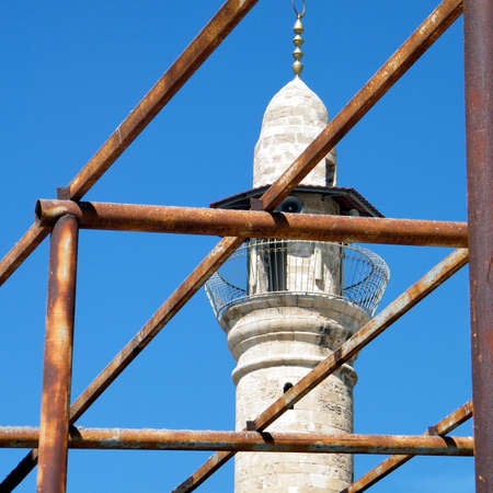 Scaffolding near minaret of Al-siksik Mosque in old city Jaffa, Israel, March 14, 2011 Stock Photo