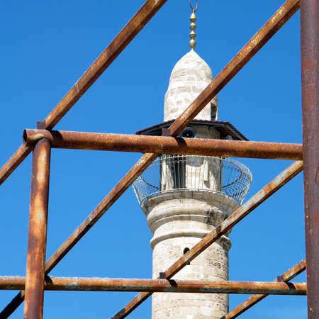 minaret: Scaffolding near minaret of Al-siksik Mosque in old city Jaffa, Israel, March 14, 2011 Stock Photo