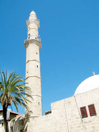 Minaret of Mahmoudiya Mosque in old city Jaffa, Israel, March 14, 2011