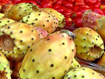 sabre's: Sabra fruit on bazaa on bazaar in Tel Aviv, Israel, August 29, 2012 Stock Photo