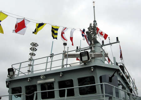 The Naval Signal Flags of warship Sweeper Kingston in Kingston, Canada, May 19, 2008 Editorial