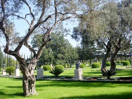bahai: Sculptures in the trees in Bahai garden near Akko, Israel, November 17, 2003 Stock Photo