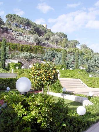 bahaullah: Green part of Bahai Gardens in Haifa, Israel, December 15, 2003