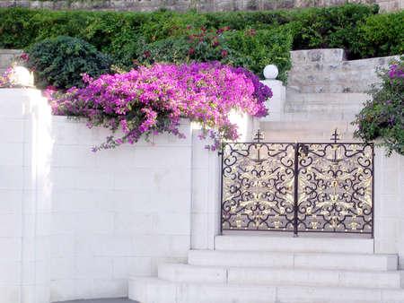 bahaullah: Flowers and gate in Bahai Gardens in Haifa, June 28, 2004 Stock Photo