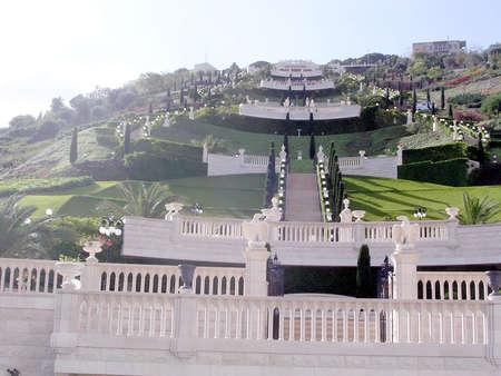 bahaullah: General form of Bahai Gardens in Haifa, December 15, 2003 Stock Photo
