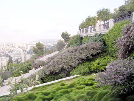 bahaullah: Green corner in Bahai Gardens in Haifa, August 11, 2003 Stock Photo