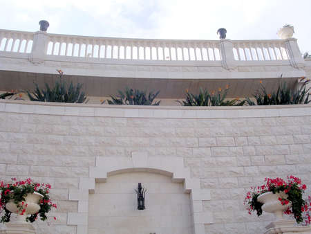 bahaullah: The architectural structure in Bahai Gardens in Haifa, December 15, 2003