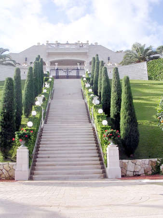 bahaullah: The center staircase in Bahai Gardens in Haifa, December 15, 2003 Editorial
